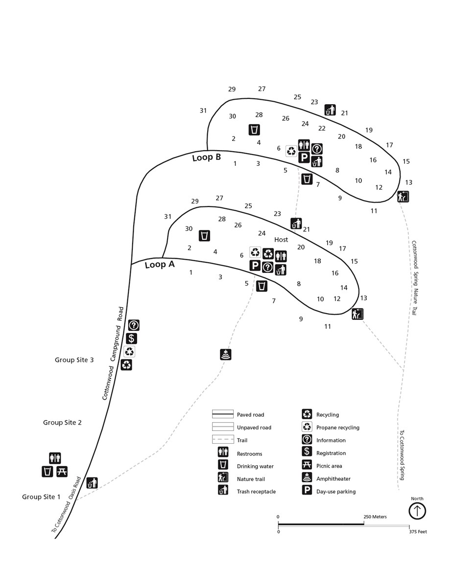 Black and white campground map. Map is oriented with North toward the top of the page. The campground is made of two loops.