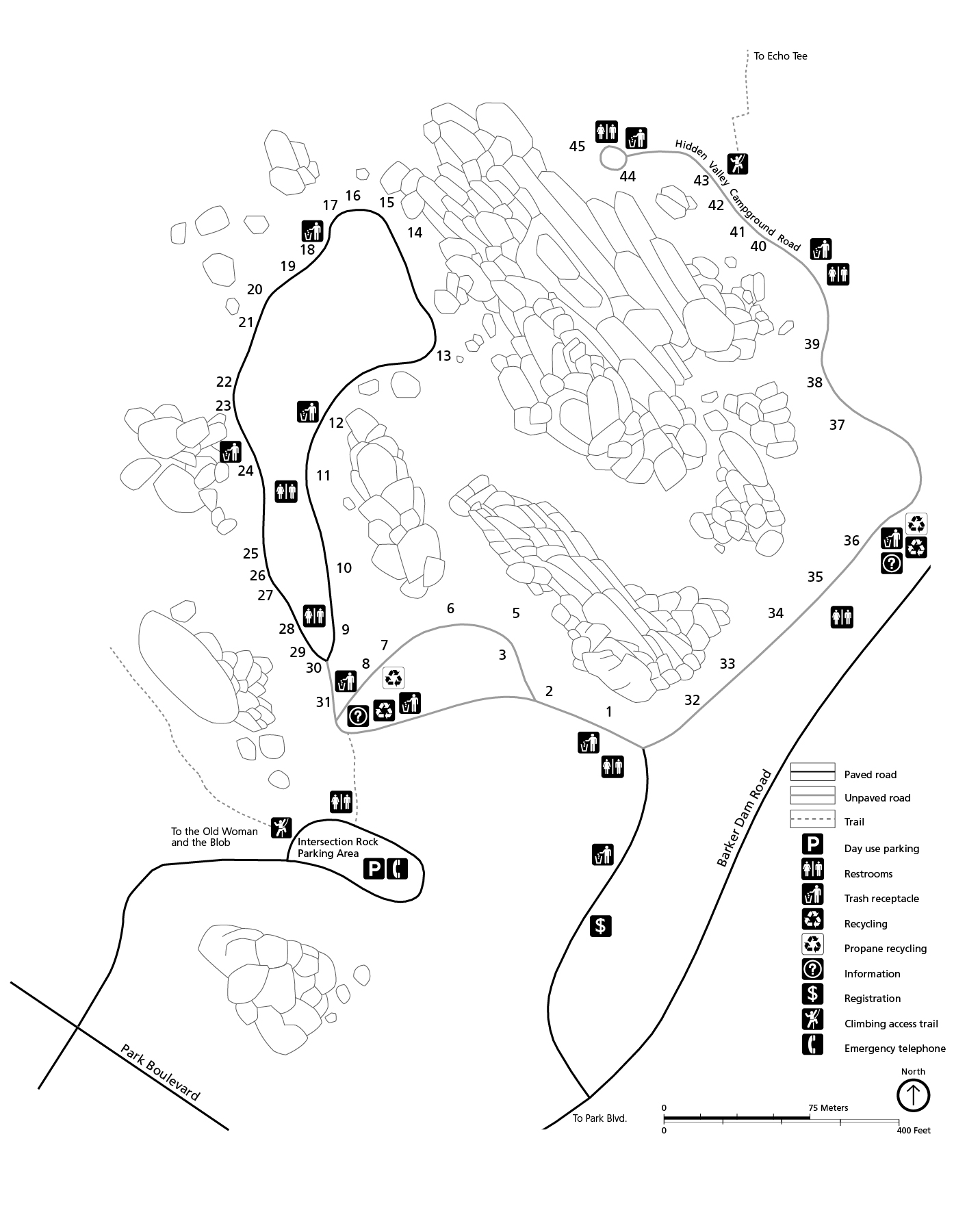 Black and white campground map. The map is oriented with North to the top of the page. The campground is made up of one dead end road and two loops.
