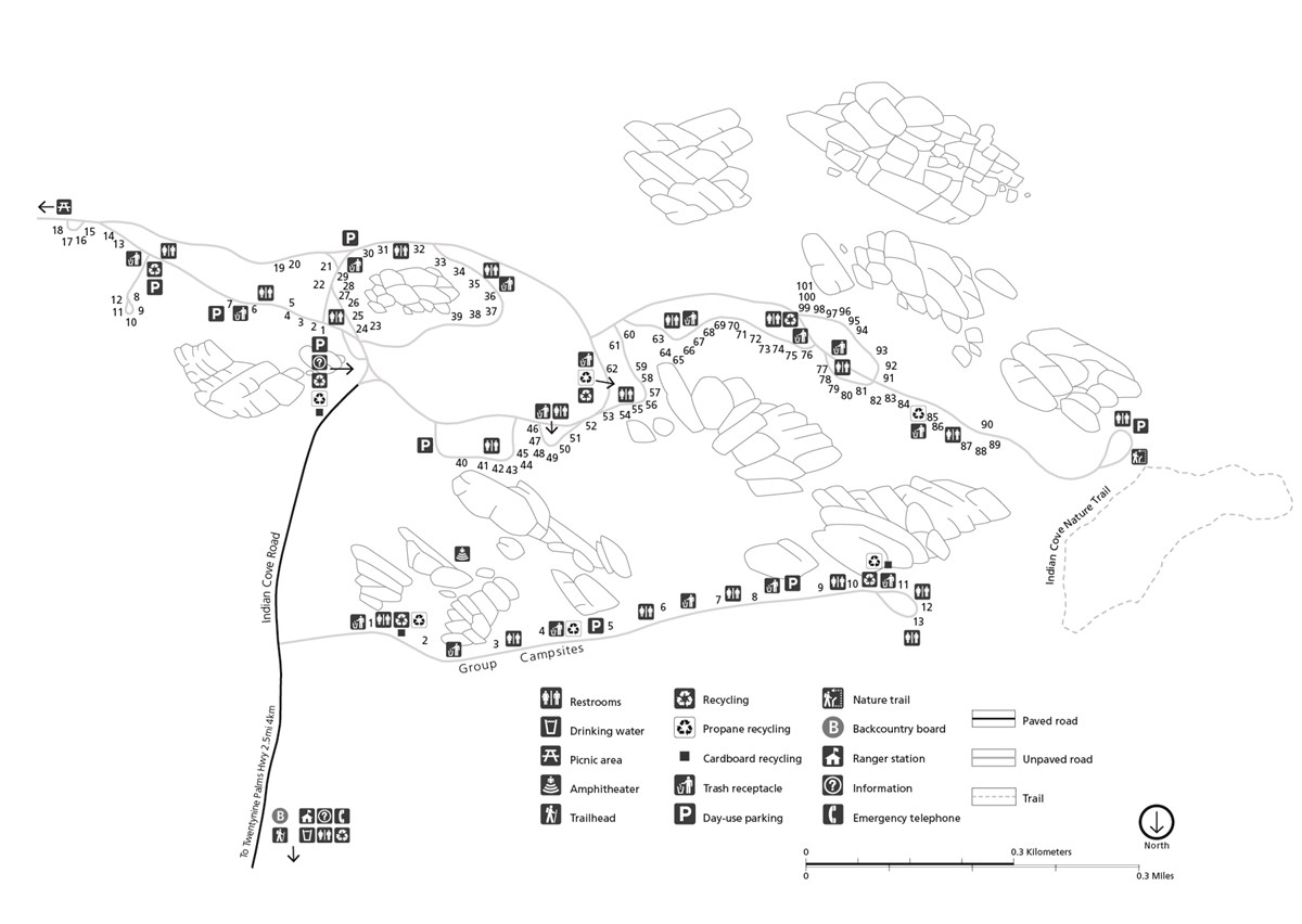 Black and white campground map layout. The map is oriented for a driver entering the campground, so the North arrow points to the bottom of the image. The campground is made of one dead-end road and a number of loops.
