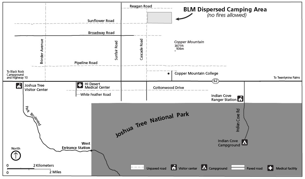 Black and white map showing small BLM dispersed camping area north of the park at the intersections of Sunflower and Cascade roads.