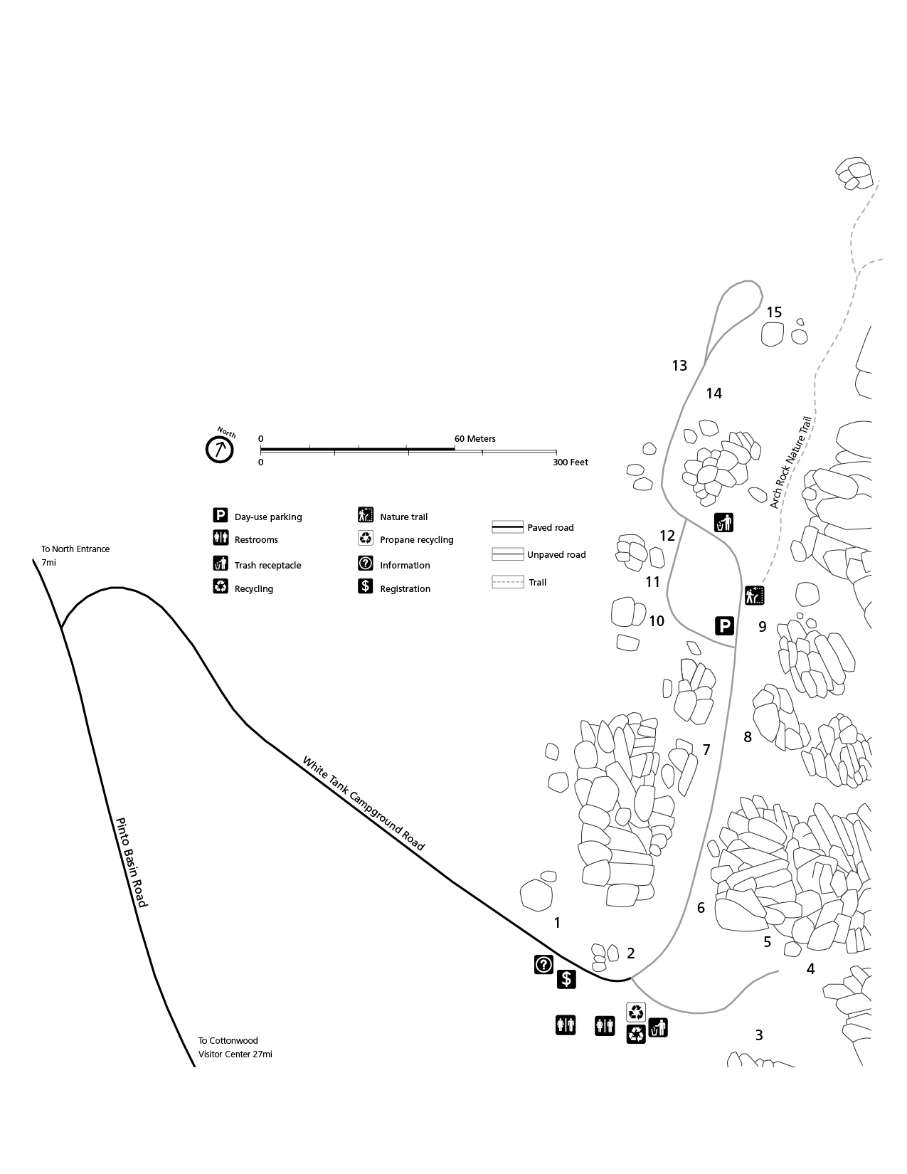 Black and white campground map. North is orientated toward the top middle right of the page. The campground is made up of one long road with a spur and two loops.