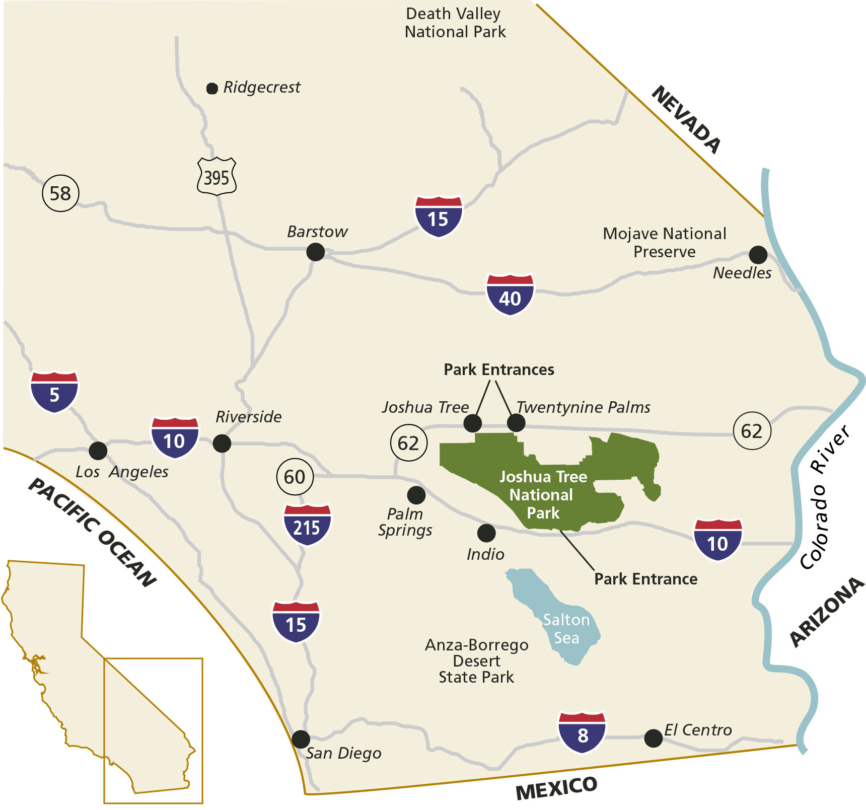 Color Map Of Joshua Tree National Park In Location In Southern California Major Interstates Are