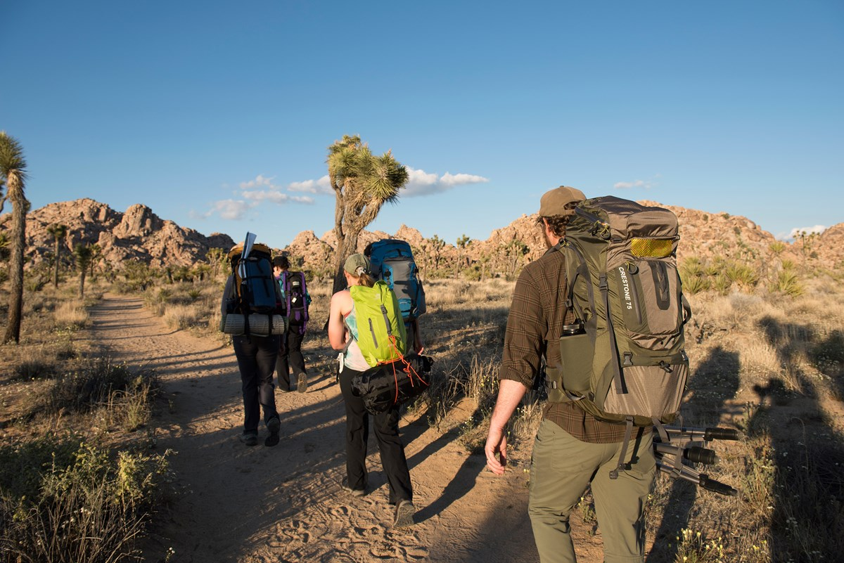 Color photo of a group carrying overnight backpacking bags into the distance along a trail. NPS / Hannah Schwalbe