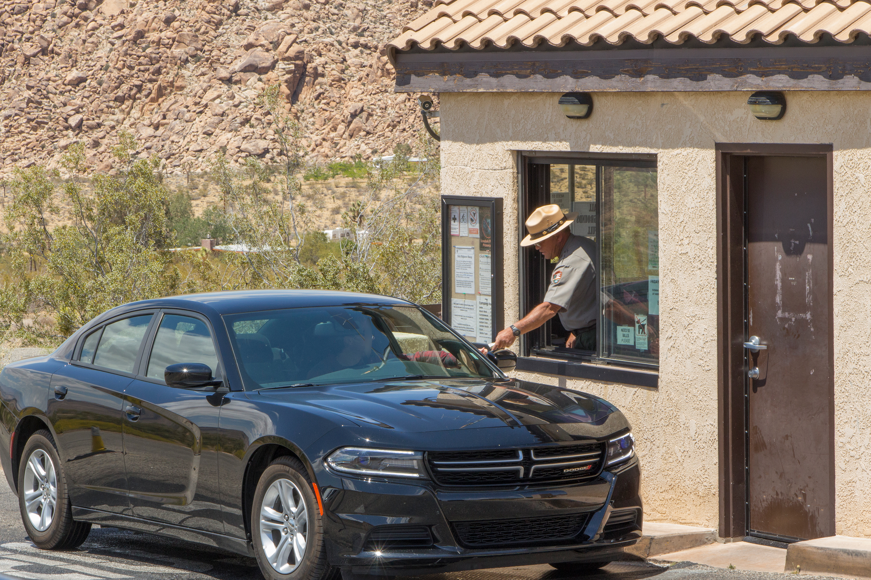 Color photo of a black car stopped at the entrance station gate as the ranger inside the gate leans out to interact with the visitor and hand over a park map..