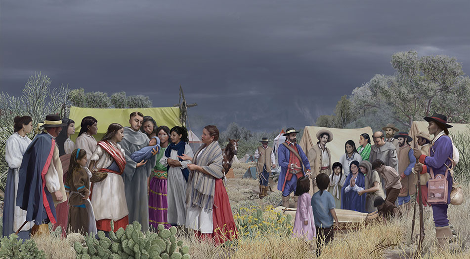 A painting depicting the expedition campsite in the desert, the sky is dark with ominous clouds. One one side of the camp a group surrounds the priest holding a newborn child. On the other side, a group mourns the death of a woman, the mother.