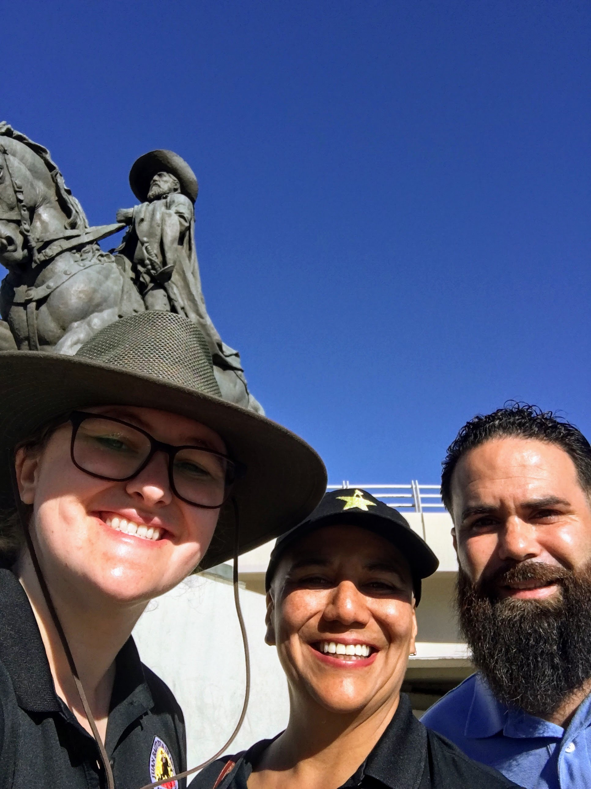 The Anza Trail Staff in front of a statue of Anza in Hermosillo, Sonora, Mexico.