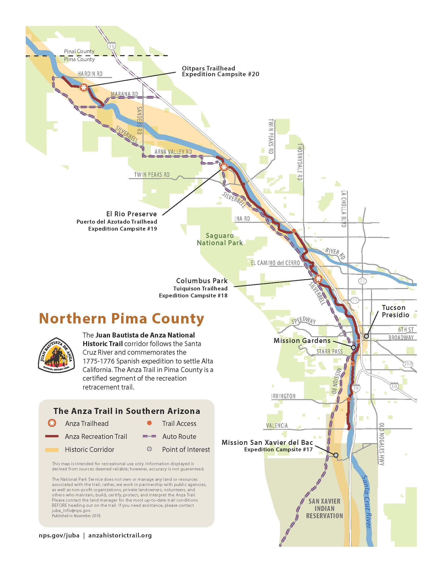 New - Trail Maps of Southern Arizona - Juan Bautista de Anza ...