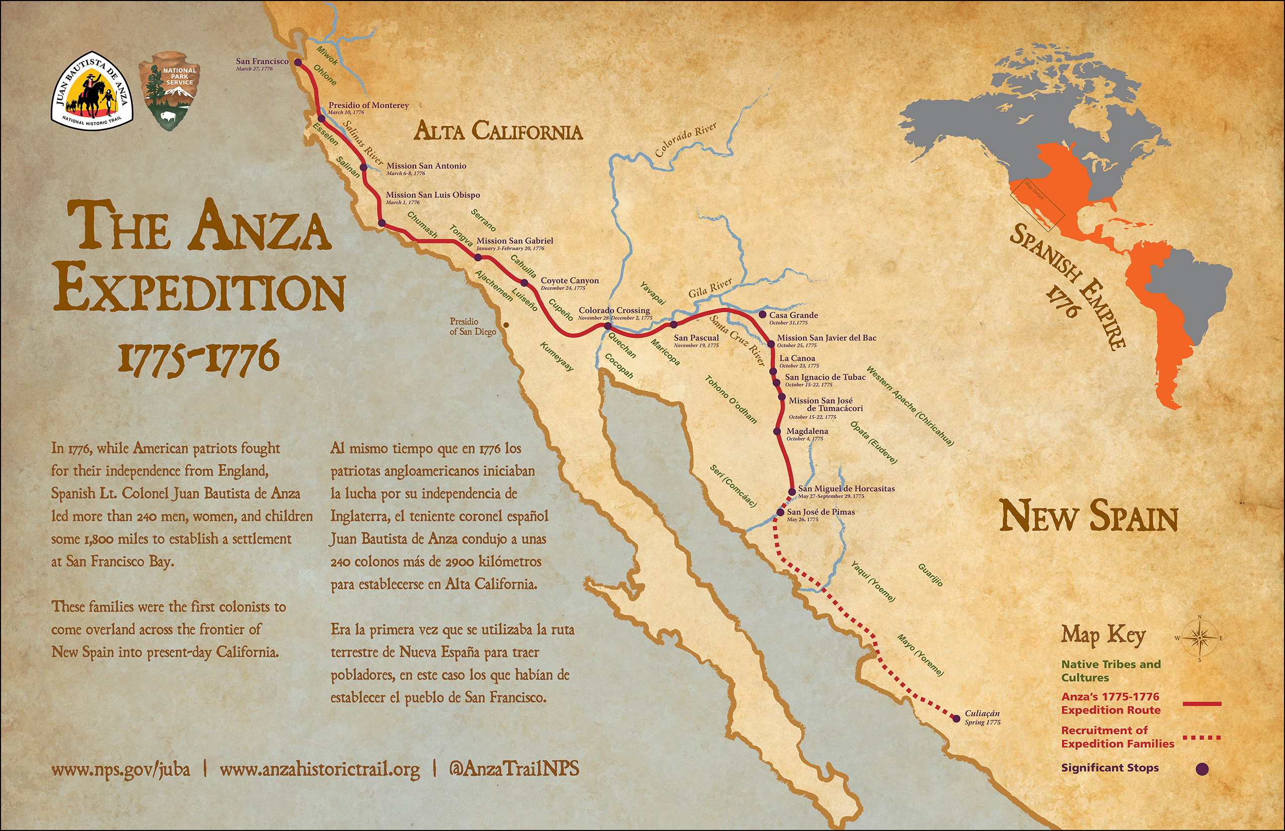Maps Juan Bautista de Anza National Historic Trail US National