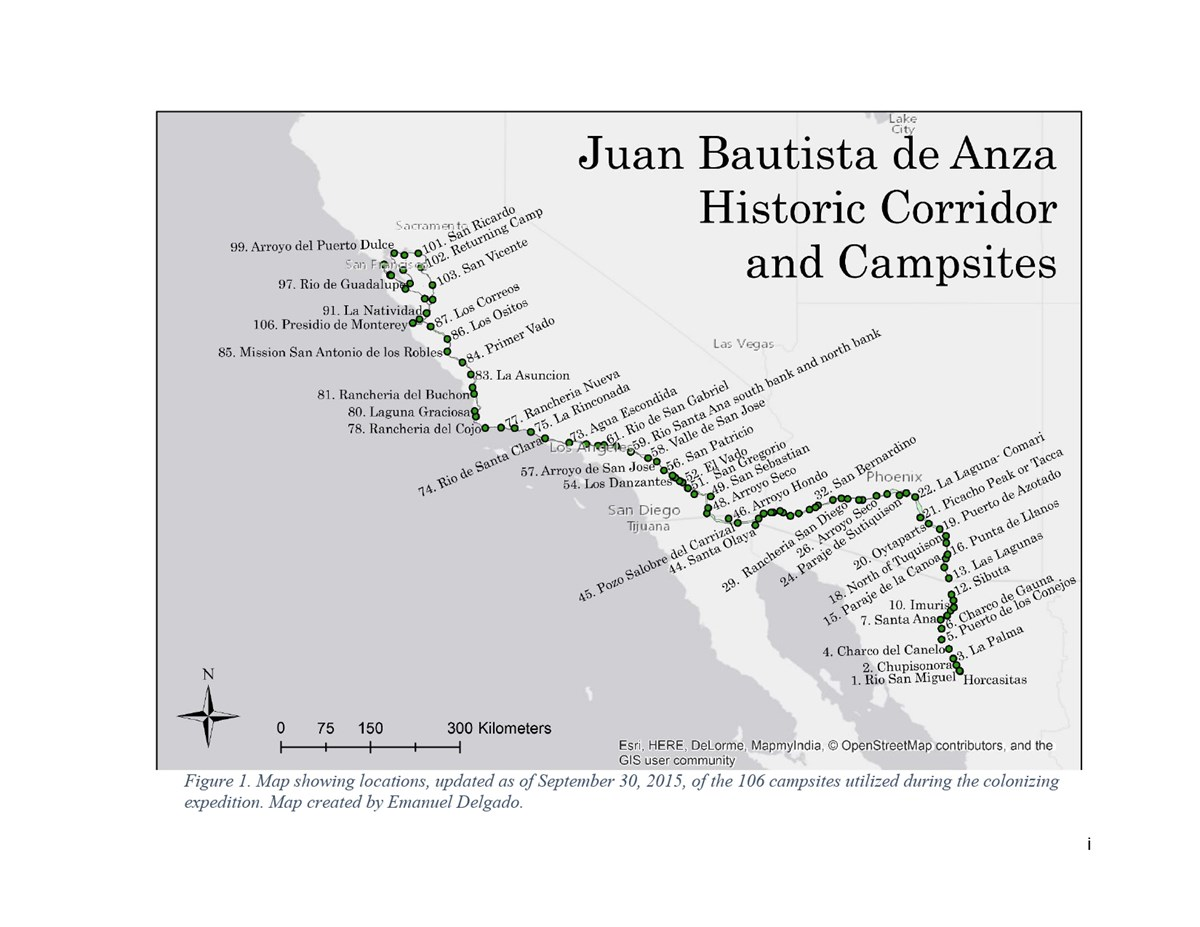 Mapping Historic Campsites of the Anza Colonizing Expedition - Juan on