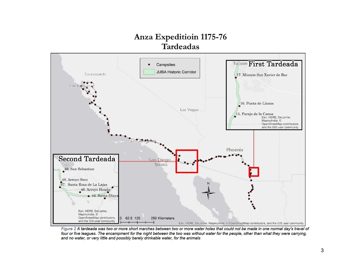 Map of Anza Expedition 1175-76 Tardeadas