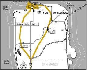 Sample map of San Francisco County from Anza Trail 1996 Comprehensive Management Plan