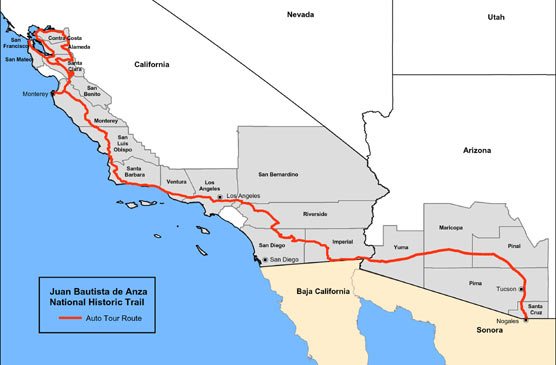 Map of Anza Trail auto route through 19 counties in Arizona and California