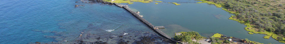 Kaloko fishpond wall is over 800 ft long and spans a natural cove