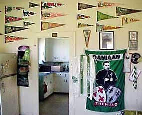Travel pennants in Kenjo's home.