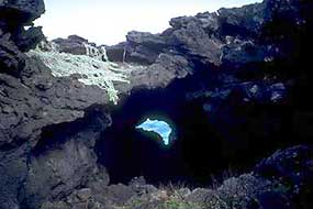 An example of a lava tube, this one running down to the Pacific.