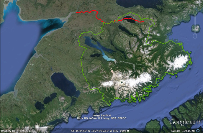Google Earth image of 100 mile journey of salmon to Moraine Creek