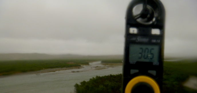 An anemometer measures nearly gale-force winds in Katmai National Preserve