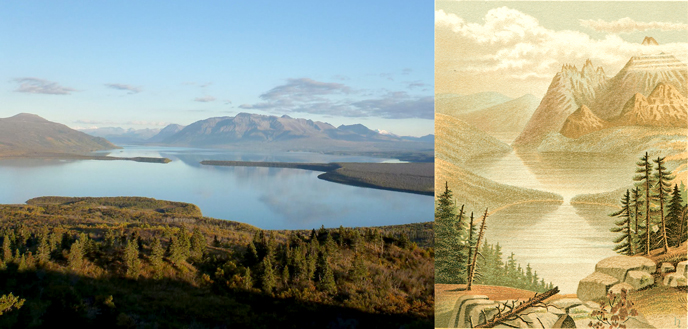 Comparison of Naknek Lake (photo at left) and painting from Petroff's description (right)