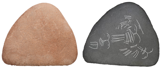 Etched pebbles. The pebble on the right was digitally enhanced to show the etchings.