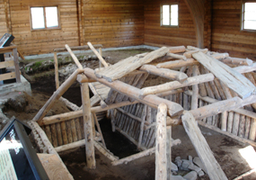 A reconstructed 650-year old house at the Cultural Site Exhibit.