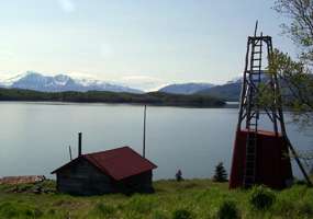 Roy Fure's cabin and windmill on Naknek Lake, built in 1926.
