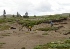 Archeologists documenting a Paleoarctic tradition site in Katmai National Park.