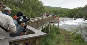 Commercial film crew at Brooks Falls