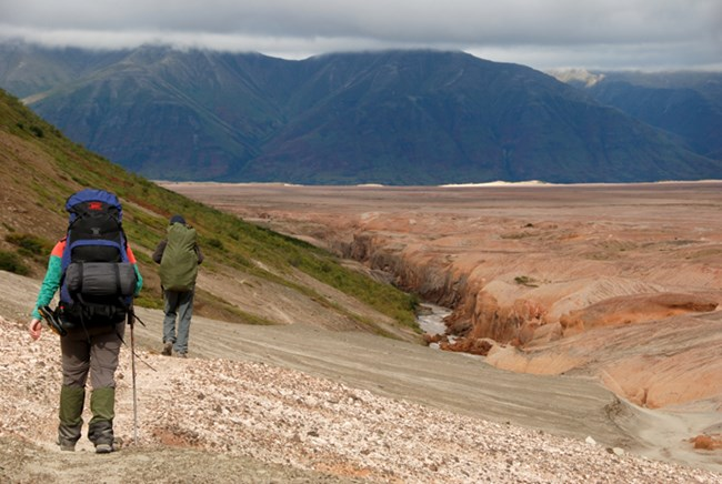 Hikers along the Buttress Range in the Valley of Ten Thousand Smokes