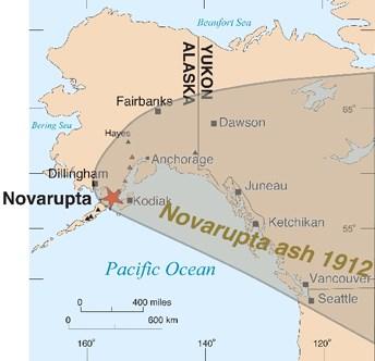 Alaska Map Volcano.Valley Of Ten Thousand Smokes And The 1912 Novarupta Katmai Eruption