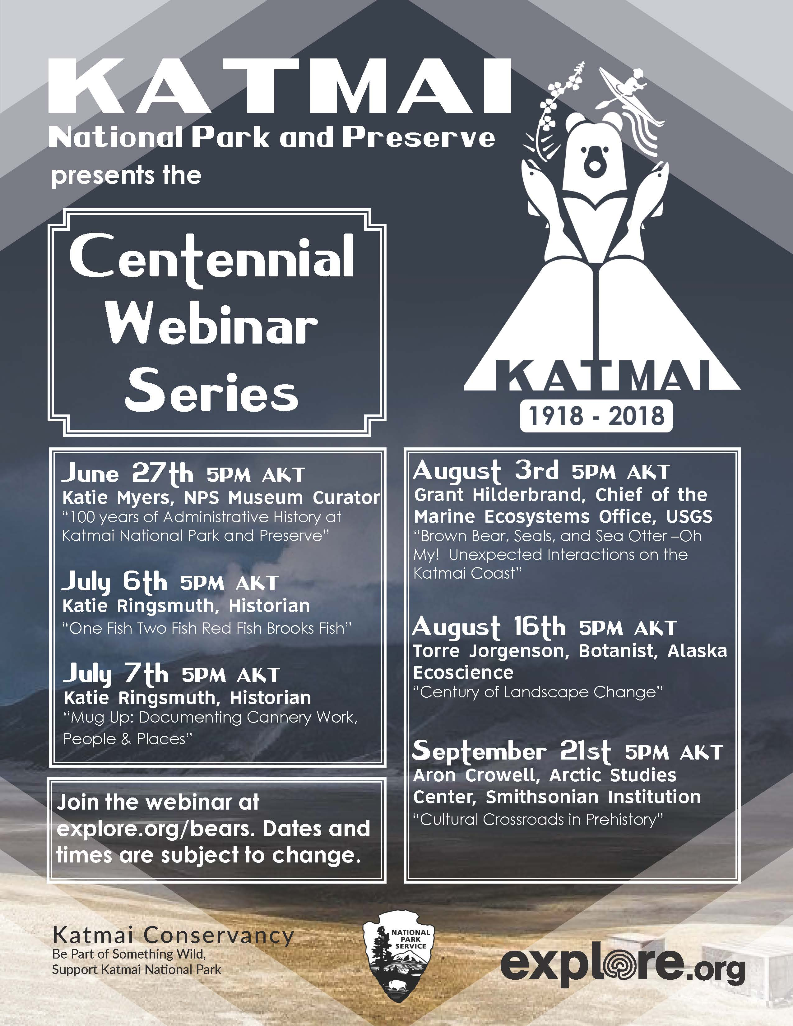 Graphic listing dates of centennial webinars