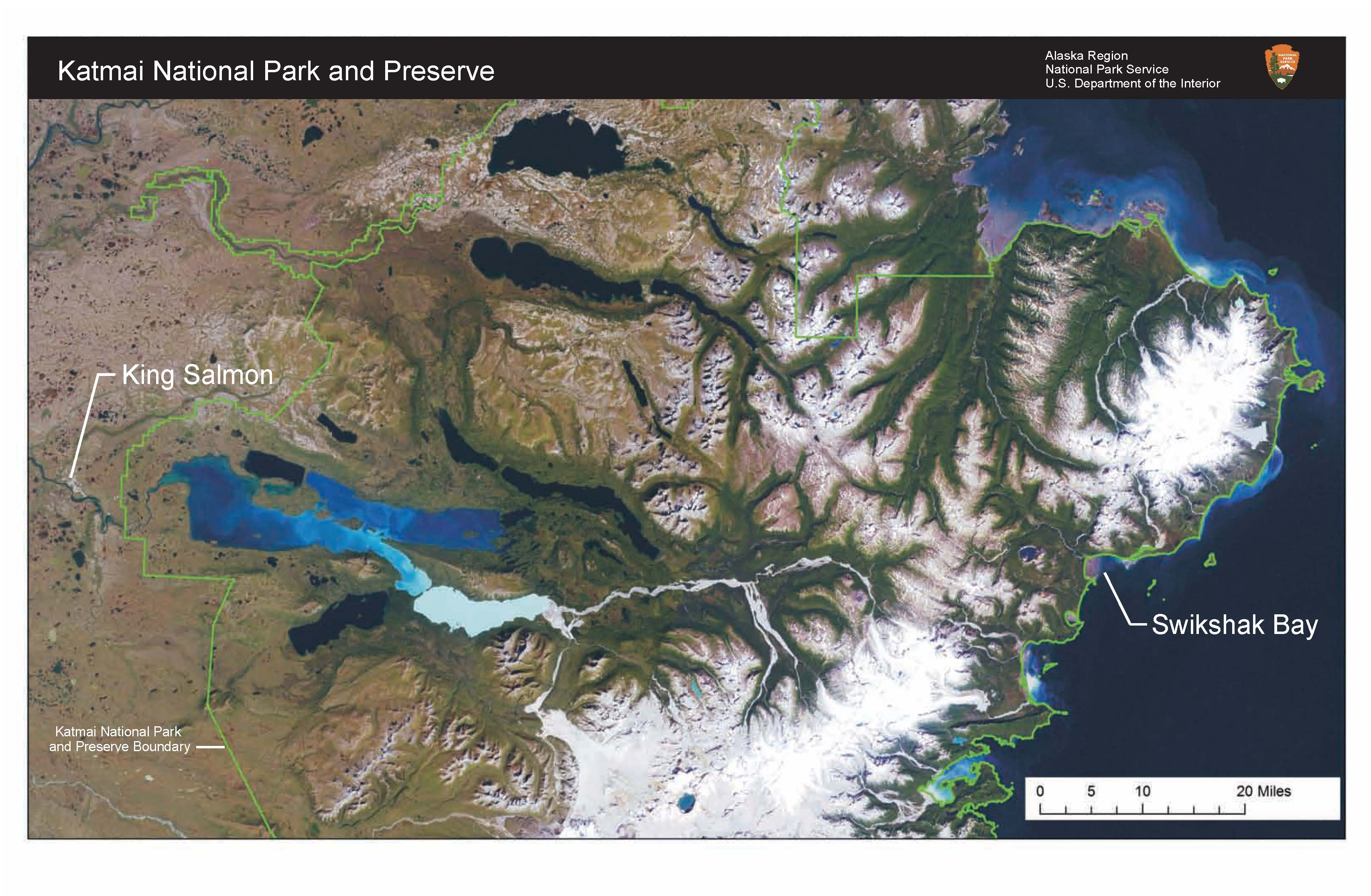 A map of Katmai National Park and Preserve