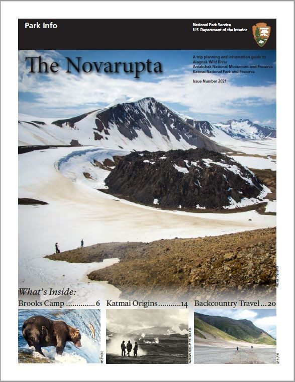 Cover of Novarupta Park Info Guide featuring a snowy landscape and two small figures