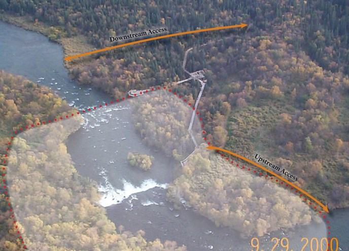 "Aerial photo of area near Brooks Falls. Closed area is enclosed in red dots. Orange arrows show location of access routes. Text reads ""Upstream Access"" and ""Downstream Access"""