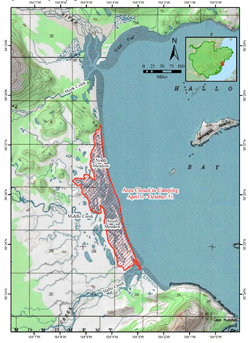 Map of Hallo Bay with the area seasonally closed to camping highlighted in red