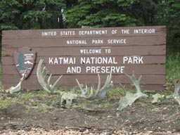 Katmai National Park Brooks Camp entrance sign