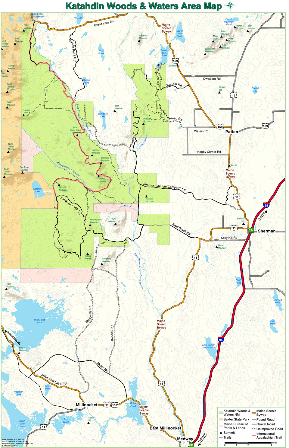 Maps Katahdin Woods And Waters National Monument US National - Us waters map