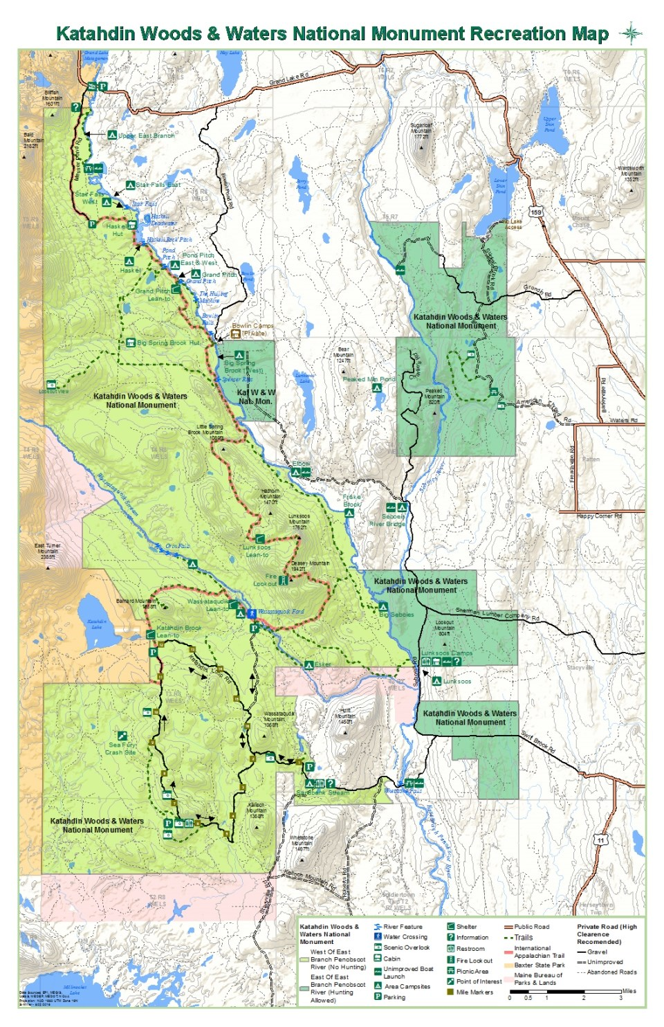 Maps Katahdin Woods And Waters National Monument US National - Us state parks map