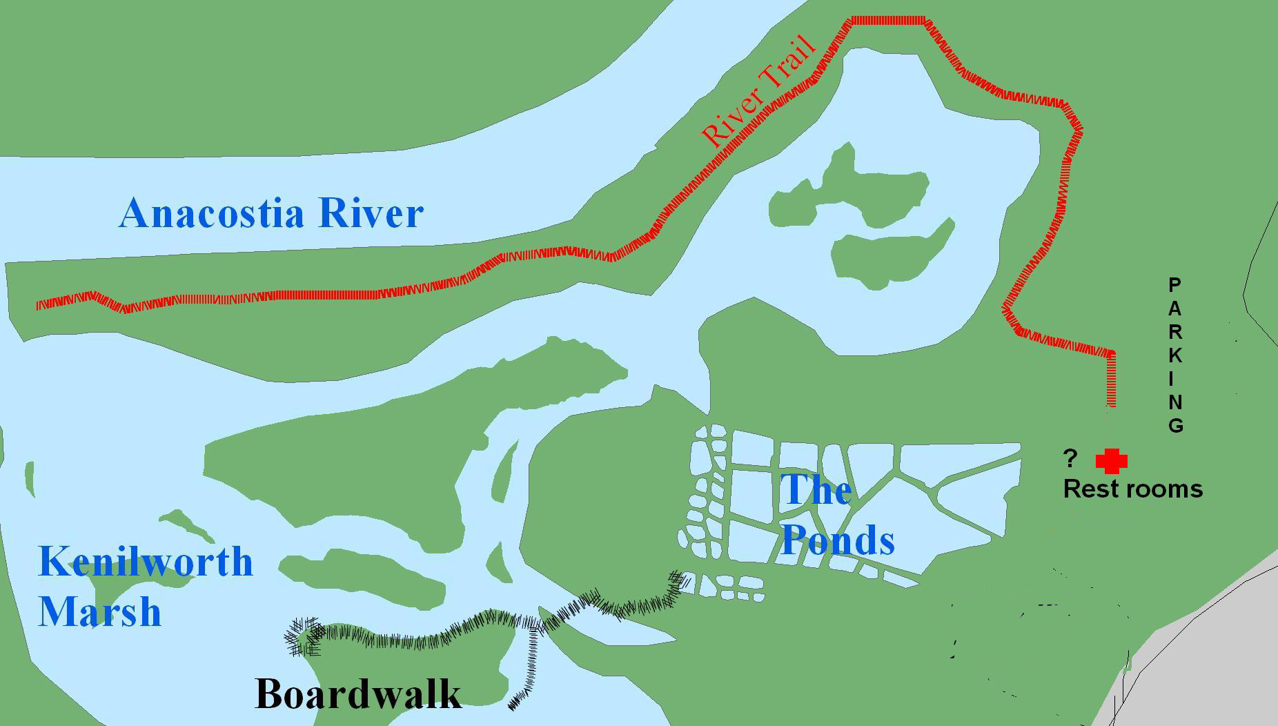 a map of ponds and trails