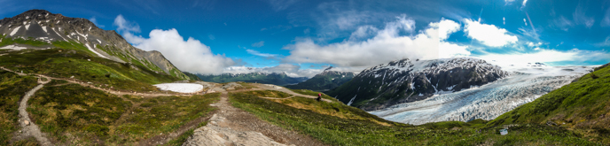 Panorama of the upper Harding Icefield trail, Kenai Fjords National Park.