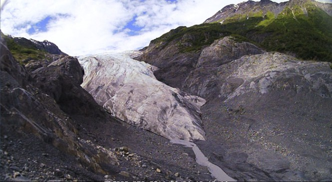 View of Exit Glacier from it's toe, or terminus.