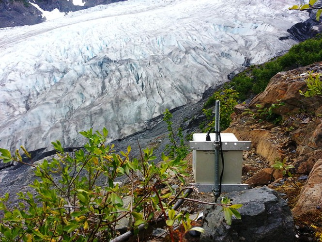 View of a time-lapse camera, and the background is Exit Glacier.