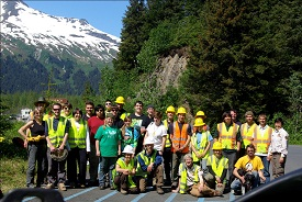 We had help from a Forest Service SCA crew, members of the Resurrection Bay Conservation Alliance, and a high school group from Anchorage.