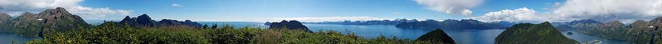 Panoramic photo of mountains and ocean.