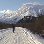 Skier on Exit Glacier Road