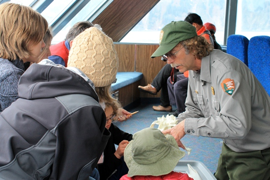 A Kenai Fjords ranger with prospective junior rangers.
