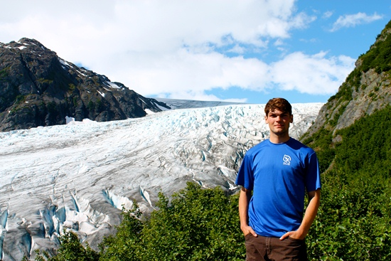 Author in front of Exit Glacier on the Harding Icefield Trail.