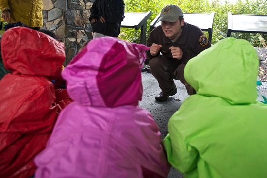 Students act out life as a mosquito at Exit Glacier