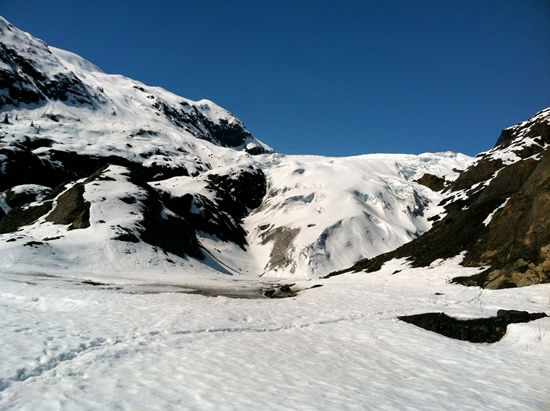 Toe of exit glacier in late May.