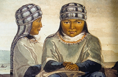 Archaeological depiction of Alutiiq woman wearing a bridal veil. NPS Photo.