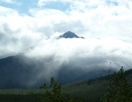 Clouds cover a lonely peak near Exit Glacier. NPS / Katie Peck